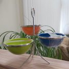 Appetizer Dip Condiment Dishes on Stand – 3 Bowl Set Enameled Metal with Silver Accents - COOL!