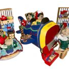 Teddy Bear Bookends and Coin Bank - Handpainted - Airplane, Kite, Train, Trucks & more!