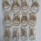 Wholesale Fashion Jewelry Variety Goldtone Graduated Hoop Earring Sets - Lot of 48 Sets #29!