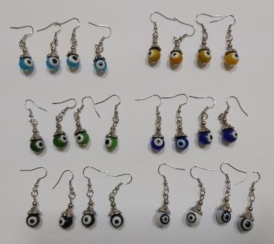 Wholesale Fashion Jewelry Evil Eye Glass Dangle Earring Sets - Lot of 12 Pairs #34!