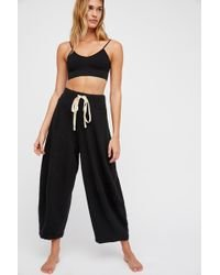 Free People OB723223 Wild Is The Wind Drawstring Wide-Leg Palazzo Pants by Intimately Sz L - NWT!