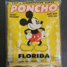 Vintage WALT DISNEY FLORIDA MICKEY MOUSE Yellow Adult One Size Waterproof Rain Poncho - NIP!