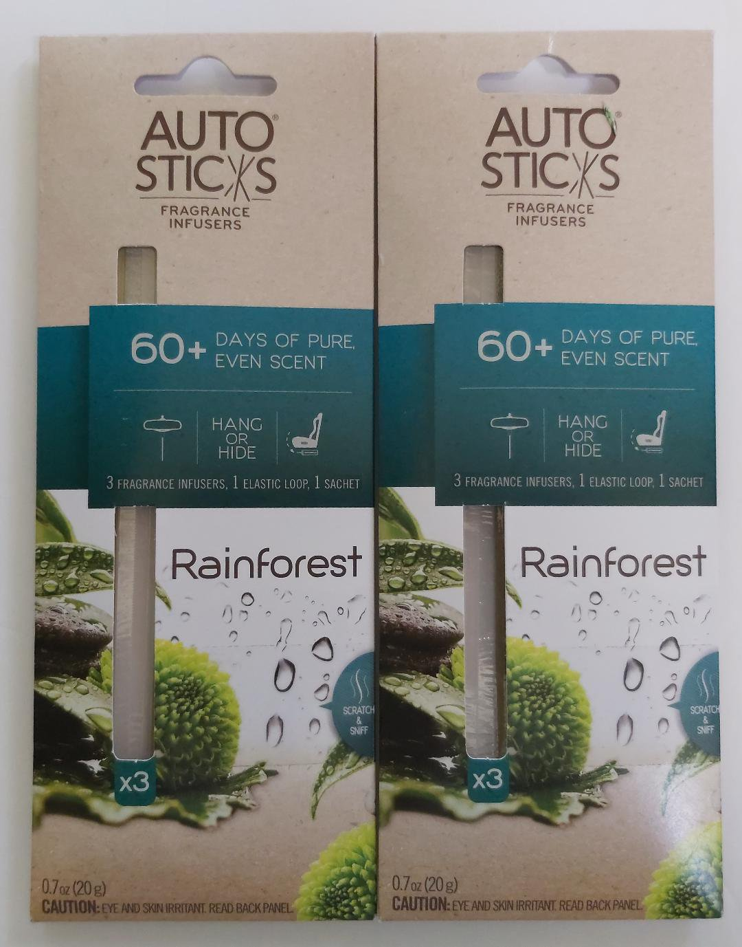Enviroscent Auto Sticks Rain Forest Fragrance Diffusers, 3 count per pkg, 0.45 oz-Lot of 2 Packages!