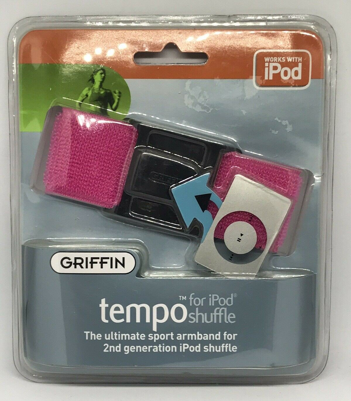 Griffin Tempo Armband for iPod shuffle 2G - Hot Pink - NEW!