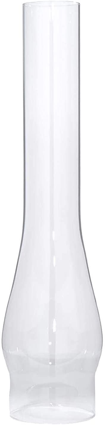 B&P Lamp 3 Inch Base by 14 Inch Tall Clear Glass Oil and Kerosene Lamp Chimney