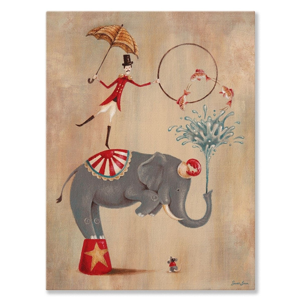 Oopsy Daisy 'Vintage Circus Elephant' by Sarah Lowe Canvas Wall Art - 10 x 14!