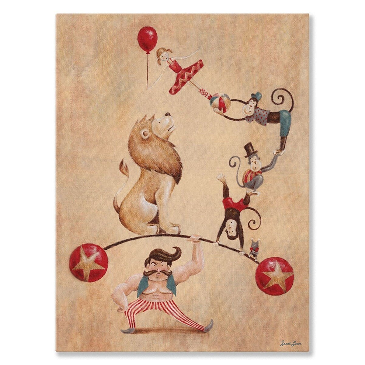 Oopsy Daisy 'Vintage Circus Strong Man' by Sarah Lowe Canvas Wall Art - 10 x 14!