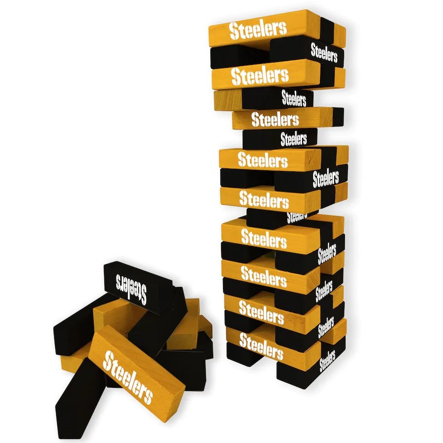 NFL Licensed Pittsburgh Steelers Wooden Table Top Stackers Block Game by Wild Sales!
