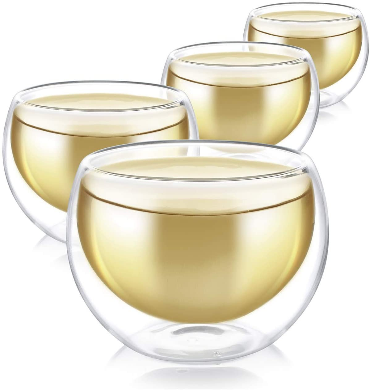 Teabloom Tea / Espresso Cups - Double Wall Insulated - Set of 4 Heat Resistant Borosilicate Glass!