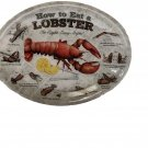 """""""How to Eat a Lobster"""" Melamine Lobster Plate Platter 4 piece Set by Nantucket D - Sealed!"""