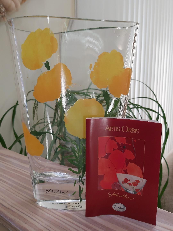 "Goebel Artis Orbis Collection by Oskar Koller- 'Bougainvillia' Abstract Yellow Flower Vase-11"" Tall!"