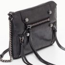 BOTKIER Logan Crossbody Bag Purse - Black Lambskin Leather w/ Industrial-Inspired Zips -NEW w/ TAGS!
