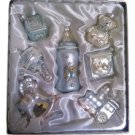 """Blue """"Baby's First Christmas"""" Boy 7 Piece Glass Ornament Boxed Gift Set!"""