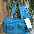 A/X Armani Exchange Turquoise Leather Continental Satchel Purse & Wallet Set - RARE - New with Tags!