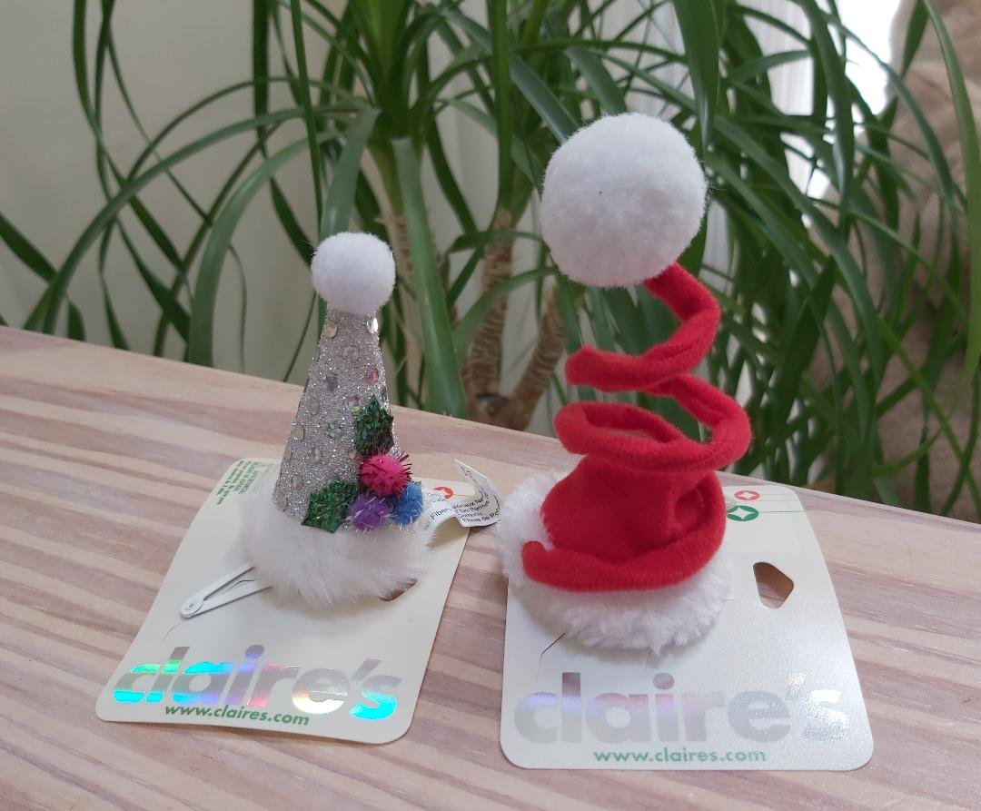 Claire's Festive Hair Barrette Snap Clips - Spiral Springy Santa Hat & Glittery New Years Hat!