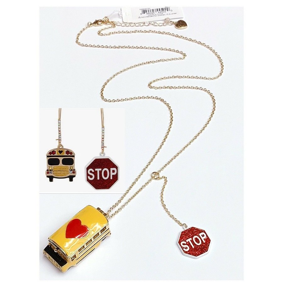 Betsey Johnson BACK TO SCHOOL Gold Tone Opening Yellow Bus Long Necklace & Earring Set - NWTS!
