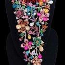 Natasha SPECTACULAR Multi-Color Floral Crystal RUNWAY Statement Waterfall Bib Necklace - NWT!