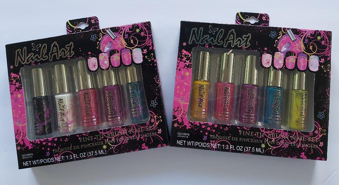 ALMAR Nail Art Polish Fine Tip Brush Art Set (10 Bottles Nail Art Polish, Nail Art Decoration)!