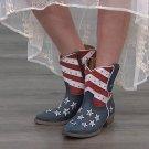 SHERYL CROW Studded AMERICANA Half Calf PATRIOTIC Leather Cowboy Boots - Size 9 - NWT!