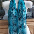 Vintage Teal 100% Silk Iridescent Beaded Rectangular Scarf!