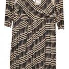 Free People New Romantics Stripe Criss Cross Lined High-Low Wrap Dress #CP4668 -Ivry Bk -Sz L -NWT!