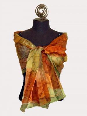 Leaf Satin Chiffon Shawl # 306