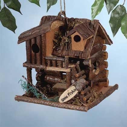 Wood Gone Fishin' Cabin Birdhouse