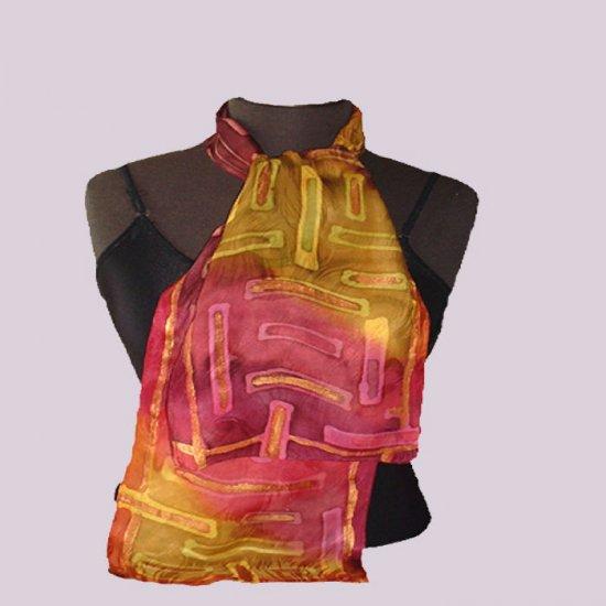 Hand Painted - Wine Gold Pure Silk Neckerchief #106