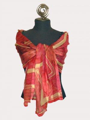 100% Pure Silk...Magenta Satin Chiffon Shawl # 304