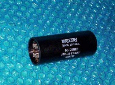 Mallory Motor Starting Capacitor 30B296 60 70 MFD Stk1788