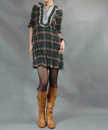 Green Scotland Check Mini Dress