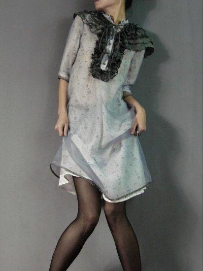 Special Shoulder Design Gray Gauze Dress