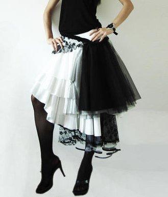 Black & White Multi-layer Gauze Skirt
