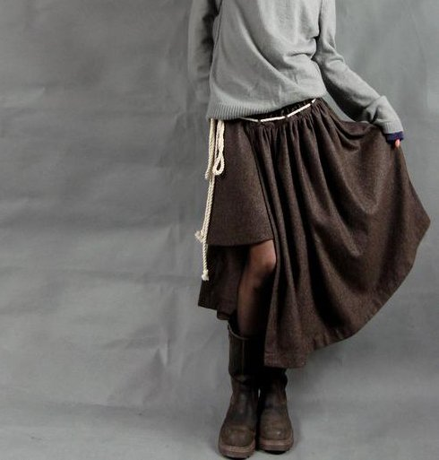 Asymmetric Coffee Color Strapping Skirt