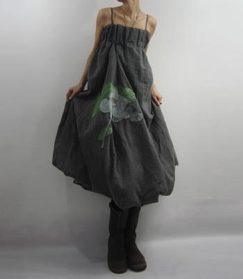 Long Style Gray Sun Dress