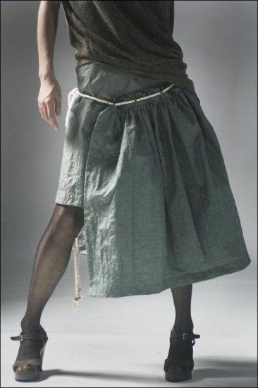 Irregular Rim Strapping Skirt Gray