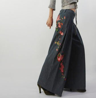 Jeans Material Floral Embroidery Pants Loose Style