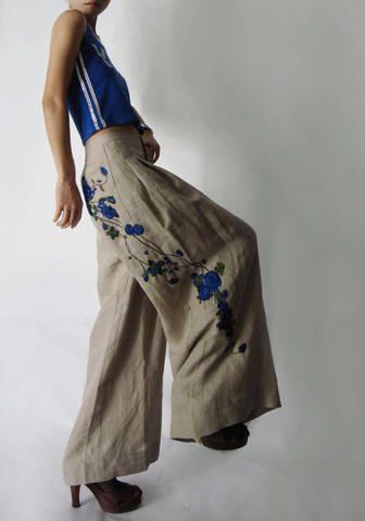 Linen Wide Leg Pants Blue Flowers