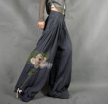 Gray Wide Leg Pants Lotus Pattern