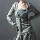 Gray Deep V Floral Back Sweater