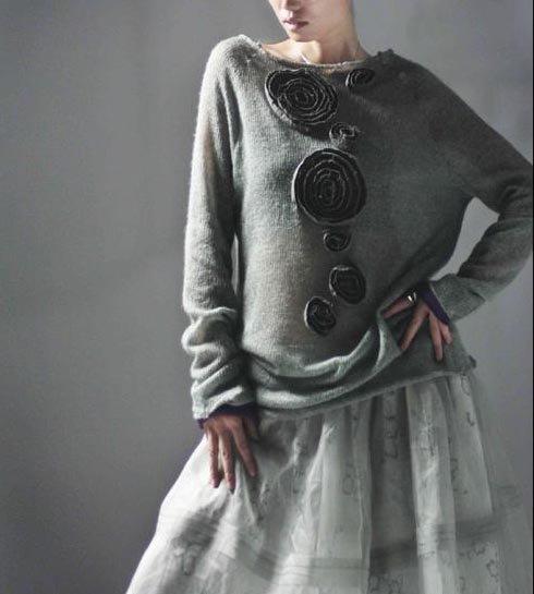 Gray Sweater Flowers Decors