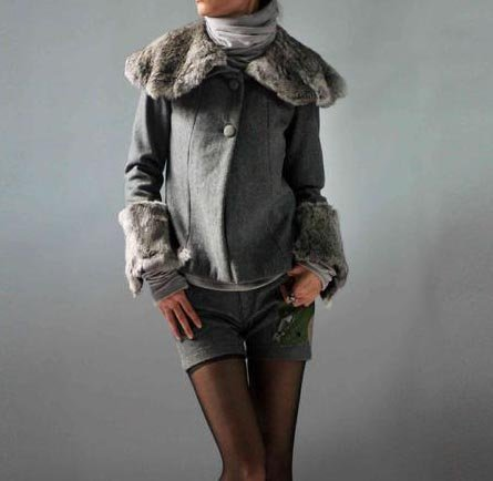 Gray Jacket with Fur Collar and Cuff