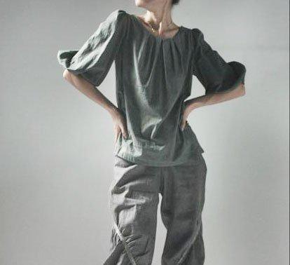 Half Sleeves Gray Cotton Top