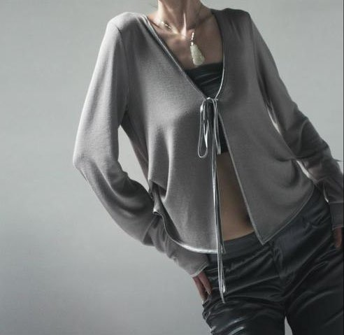 Gray Strapping Cardigan