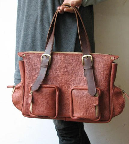 Big Leather Tote Bag 2 Color in
