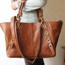 Tri-use Brown Color Large Tote/Shoulder/Hip Bag Genuine Leather