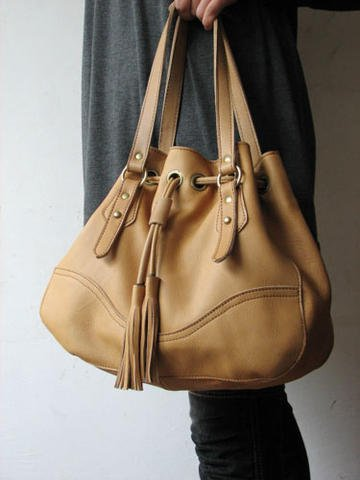 Tan Color Large Band-Tighten Style Genuine Leather Handbag