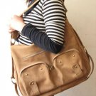 Light Tan Color Shoulder or Hip Leather Bag Extensive Straps
