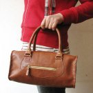 Cute Brown Color Barrel Shape Leather Handbag