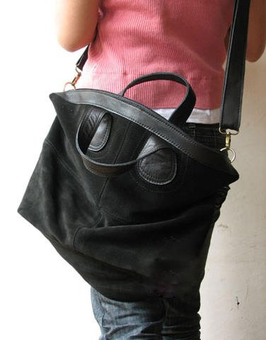 Large Black Color Suede Leather Bag